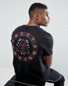 Длинная футболка с принтом знаков зодиака на спине ASOS - Черный