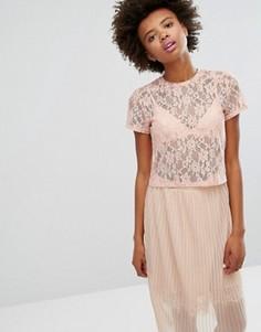 Кружевная футболка Monki - Розовый