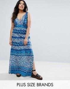 Платье макси с леопардовым принтом Boohoo Plus - Мульти