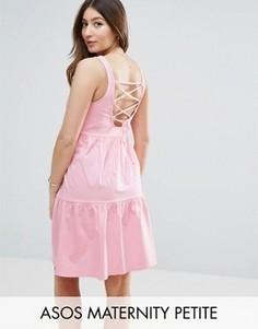 Свободный сарафан со шнуровкой на спине ASOS Maternity PETITE - Розовый