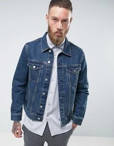Синяя выбеленная джинсовая куртка Weekday - Синий