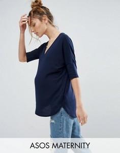 Oversize-футболка в рубчик с V-образным вырезом ASOS Maternity - Темно-синий