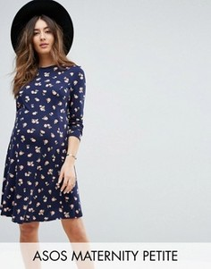 Короткое приталенное платье с цветочным принтом ASOS Maternity PETITE - Мульти