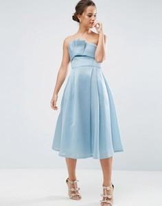 Платье-бандо миди с отворотом ASOS PREMIUM - Синий