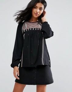 Блузка с вышивкой Pepe Jeans Stelle - Черный
