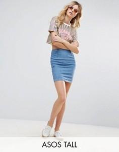 Синяя джинсовая мини-юбка ASOS TALL - Синий