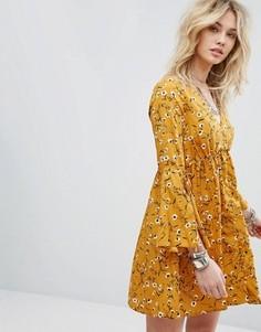 Платье с расклешенными рукавами Influence - Желтый
