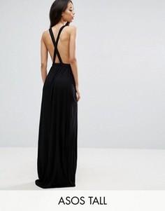 Трикотажное пляжное платье макси с перекрестом на спине ASOS TALL - Черный
