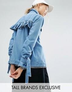 Джинсовая куртка с завязками на рукавах Daisy Street Tall - Синий