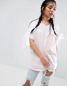 Oversize-футболка с контрастными полосами и бантиками ASOS - Мульти