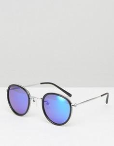 Круглые солнцезащитные очки в черной оправе с синими зеркальными стеклами ASOS - Черный
