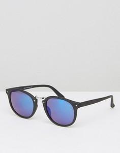 Круглые солнцезащитные очки с черной матовой оправой и синими стеклами ASOS - Черный