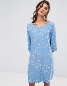 Платье с принтом Selected - Синий