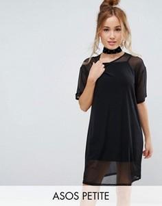 Сетчатое платье-футболка ASOS PETITE - Черный