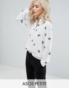 Блузка с принтом листьев ASOS PETITE - Мульти
