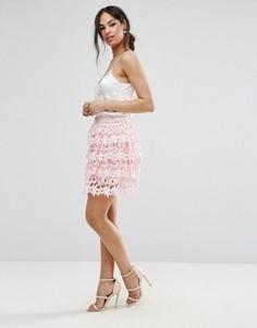 Короткая премиум-юбка с кружевом и оборками Missguded - Розовый Missguided