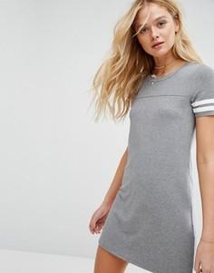 Платье-футболка с контрастными полосками на рукавах Hollister - Серый