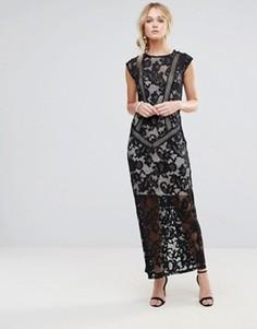Платье макси с кружевной отделкой Little Mistress - Черный