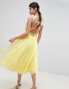 Платье миди для выпускного из тюля с лентой ASOS PREMIUM - Желтый