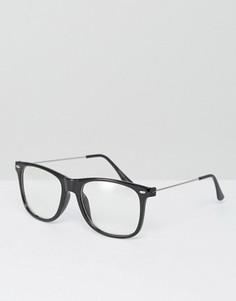Очки с прозрачными прямоугольными стеклами 7X - Черный