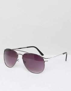 Солнцезащитные очки-авиаторы в оправе из темно-серого металла AJ Morgan Masterson - Серебряный