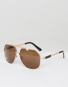 Золотистые солнцезащитные очки-авиаторы AJ Morgan Attack - Золотой