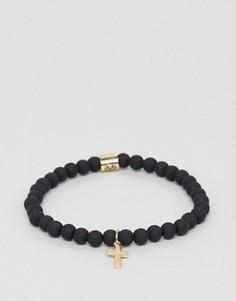 Золотистый узкий браслет с крестом Chained & Able - Золотой