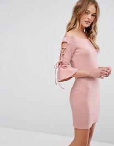 Облегающее платье с открытыми плечами Parisian - Розовый