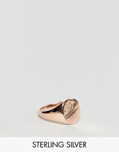 Серебряное кольцо с печаткой и покрытием из розового золота ASOS - Серебряный