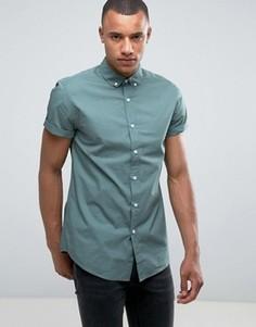 Светло-зеленая поплиновая рубашка классического кроя New Look - Зеленый