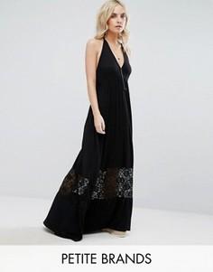 Платье макси с кружевной вставкой Boohoo Petite - Черный