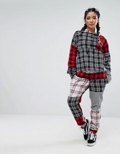 Спортивные штаны от костюма в клетку в стиле пэтчворк Jaded London - Мульти