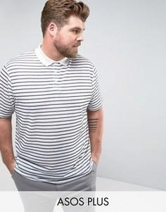 Свободная футболка-поло в полоску из имитирующей лен ткани ASOS PLUS - Белый