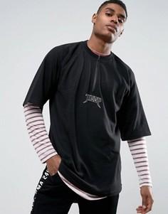 Черная oversize-футболка с короткой молнией Visionair - Черный