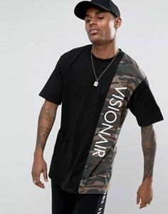 Черная футболка с камуфляжной вставкой Visionair - Черный