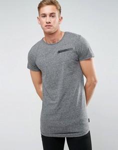 Длинная футболка с молнией Bellfield - Серый