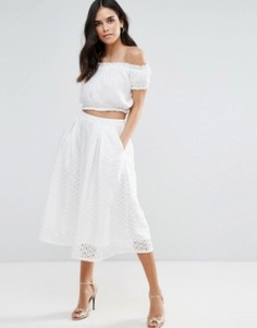 Кружевная юбка миди со складками Liquorish - Белый