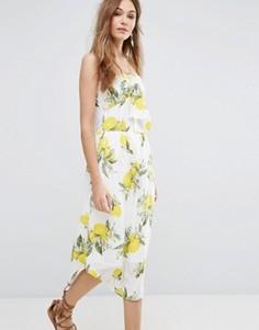 Платье на тонких бретельках с бантом и лимонами Moon River - Мульти