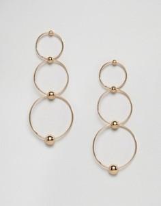 Серьги с кольцами в три ряда Ashiana - Серебряный