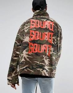 Камуфляжная куртка с воротником-стойкой и принтом на спине Visionair - Зеленый