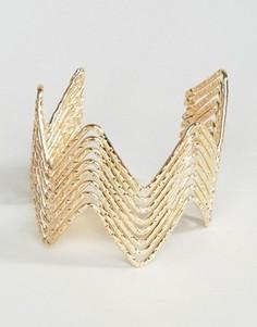 Массивный браслет-манжет с зигзагообразной отделкой Ashiana - Золотой