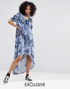 Платье с эффектом тай-дай, цветочным принтом и шнуровкой Milk It Vintage - Мульти