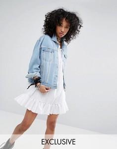 Джинсовая куртка в винтажном стиле с декоративной отделкой Milk It - Синий