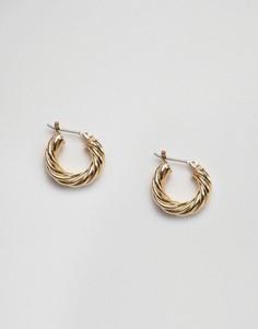 Крученые серьги-кольца Pieces Ekko - Золотой