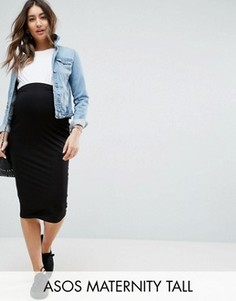 Трикотажная юбка-карандаш миди с посадкой над животом ASOS Maternity TALL - Черный