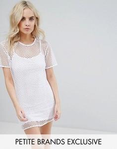Сетчатое платье-футболка Missguided Petite - Белый
