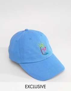Бейсболка с вышитым фламинго Reclaimed Vintage Inspired - Синий