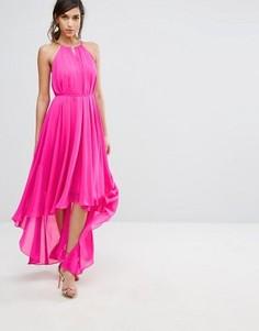 Асимметричное платье с вырезом с отворотом Ted Baker - Розовый