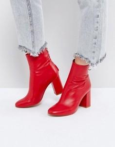 Кожаные ботинки на молнии ASOS EDITION - Красный