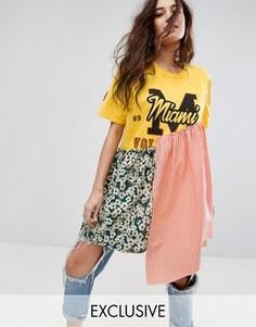 Платье-футболка в университетском стиле Reclaimed Vintage Inspired - Мульти